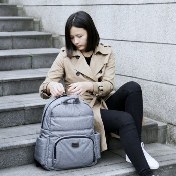 7AM Mochila Muda Fraldas BK718 Heather Grey