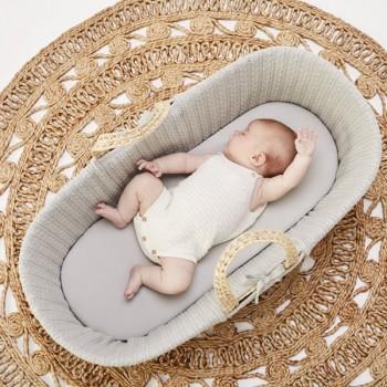 LGS Alcofa de Bebé em Folha de Palma Orgânica e Colchão Dove FN010B