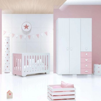 Alondra Armário Infantil Grande 3 Portas Bubble Rosa A354G-M7752
