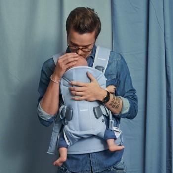 BabyBjörn Porta-Bebé ONE Algodão Azul Claro/Cinza Claro 098046