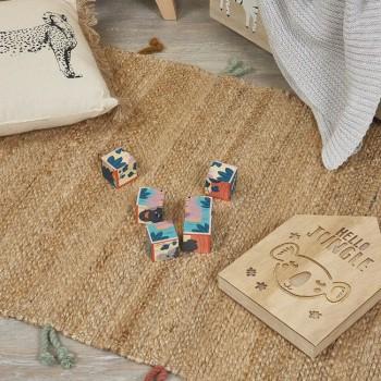 Janod 6 Cubos Animais Com 1 Caixa de Madeira +12M J08622