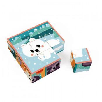 Janod 9 Cubos Animais Com 1 Caixa de Madeira +2 Anos J08624