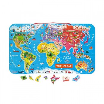 Janod Mapa Mundo Magnético 92 Peças +7 Anos J05504