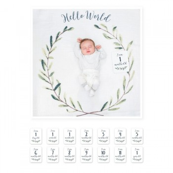 Lulujo Musselina Primeiro Ano Hello World Wreath LJ592