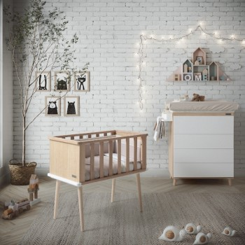 Micuna Mini Berço Nature Waterwood/Branco MO-1915