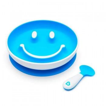 Munchkin Prato c/ Sucção e Colher Smile n' Scoop Azul 012449