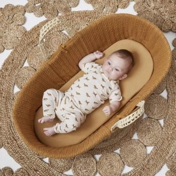LGS Alcofa de Bebé em Folha de Palma Orgânica e Colchão Honey FN010D