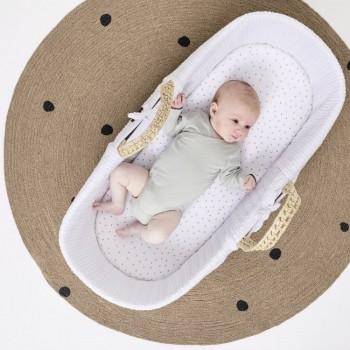 LGS Alcofa de Bebé em Folha de Palma Orgânica e Colchão White FN010E