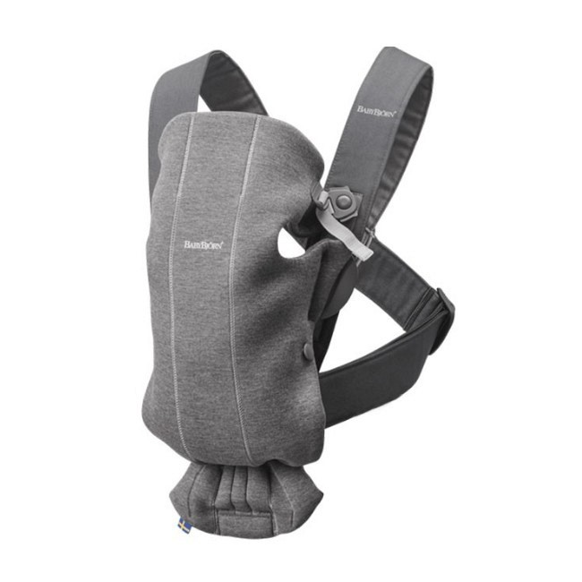 BabyBjörn Porta-Bebé Mini Cinza Escuro Jersey 3D 021084