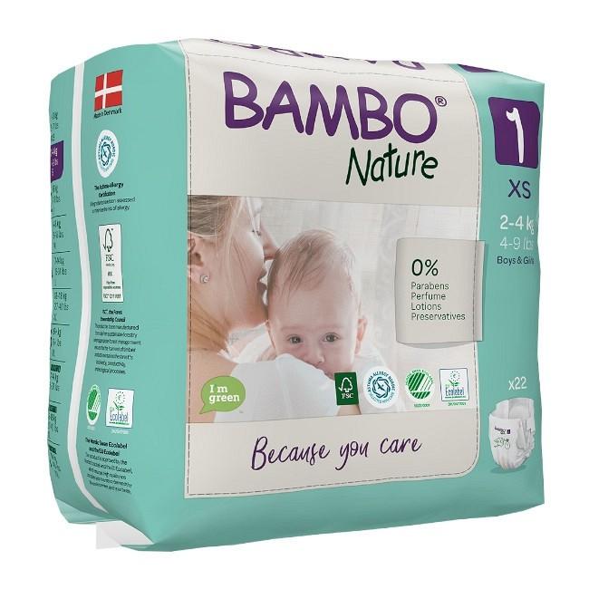 Bambo Nature Fraldas Tamanho 1 XS 2-4Kg 22 Unidades