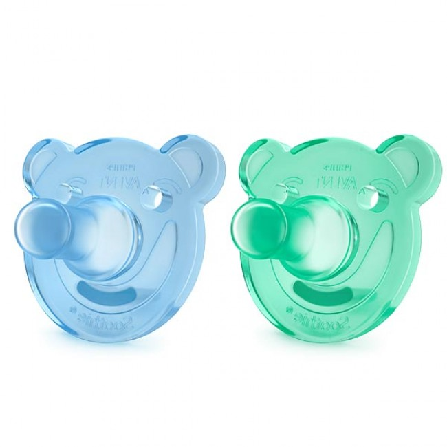 2 Chupeta Soothie Shapes Verde/Azul Avent