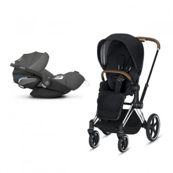 Cybex Duo PRIAM Chrome Brown + Seat Pack Black + CLOUD Z I-SIZE Grey