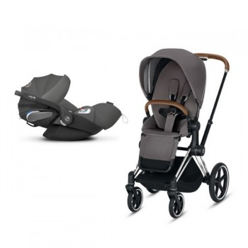 Cybex Duo PRIAM Chrome Brown + Seat Pack Grey + CLOUD Z I-SIZE Grey