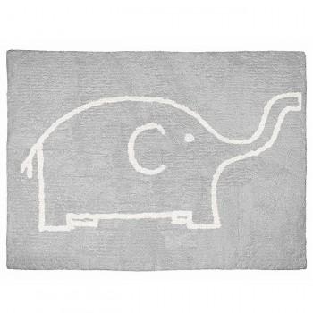 Aratextil Tapete Elefante Cinza/Branco