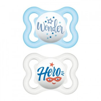 MAM 2 Chupetas Air Silicone 0-6M Happy Thoughts Azul S116