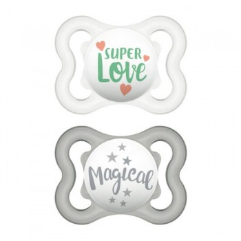 MAM 2 Chupetas Air Silicone 0-6M Happy Thoughts Verde S116