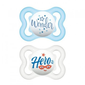 MAM 2 Chupetas Air Silicone Happy Thoughts Azul +0M S116