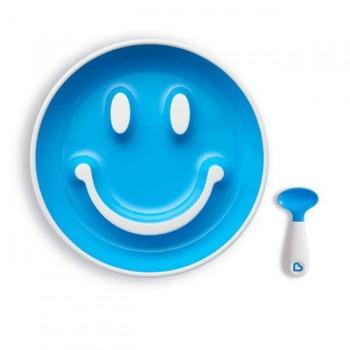 Munchkin Prato c/ Sucção e Colher Smile n' Scoop Azul