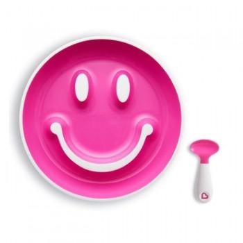 Munchkin Prato c/ Sucção e Colher Smile n' Scoop Rosa