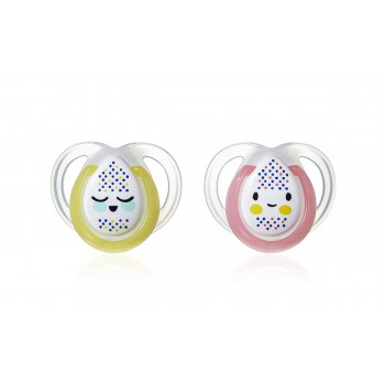 Tommee Tippee 2 Chupetas 0-6M Noite Rosa/Amarelo