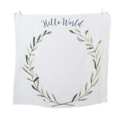 Lulujo Musselina Primeiro Ano Hello World Wreath LJ592