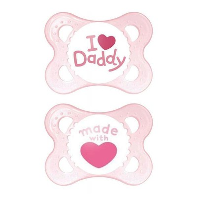 MAM Style 2 Chupetas I Love Daddy/Made With Love Rosa 0+