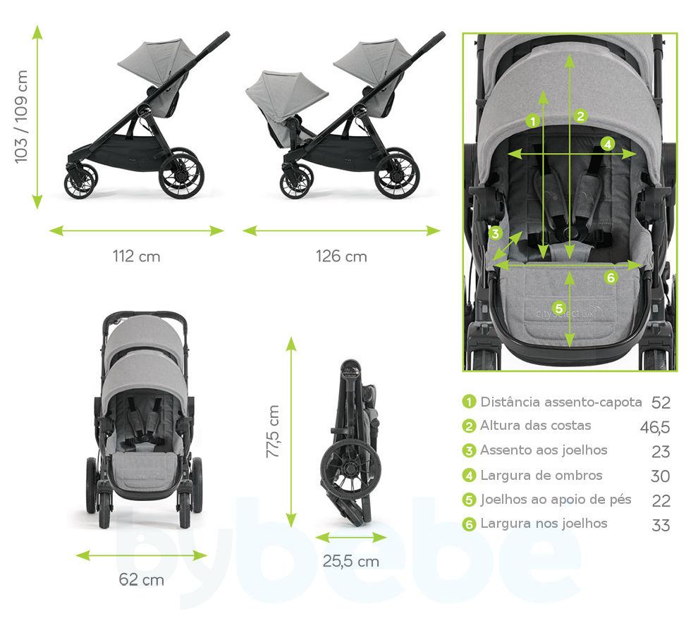 Dimensões Baby Jogger City Select Lux