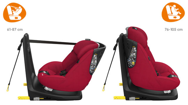 A cadeira AxissFix pode ser usada de costas para a estrada e de frente para a estrada